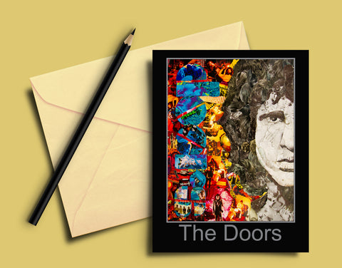 Jim Morrison of The Doors Collage Greeting Card - multymedia