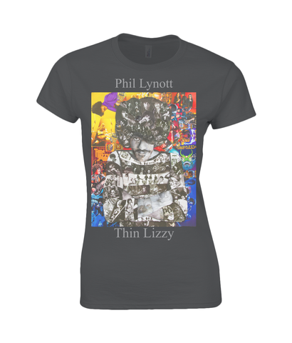 Thin Lizzy Phil Lynott Collage Womens T Shirt