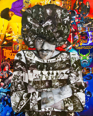 Thin Lizzy Phil Lynott Collage Poster - multymedia