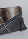 CATT CLUTCH FUR in Black Chocolate
