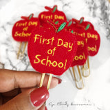 First Day of School Felt Planner Paper Clips