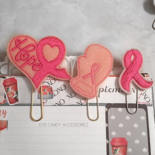 Breast Cancer Awareness Felt Planner Paper Clips