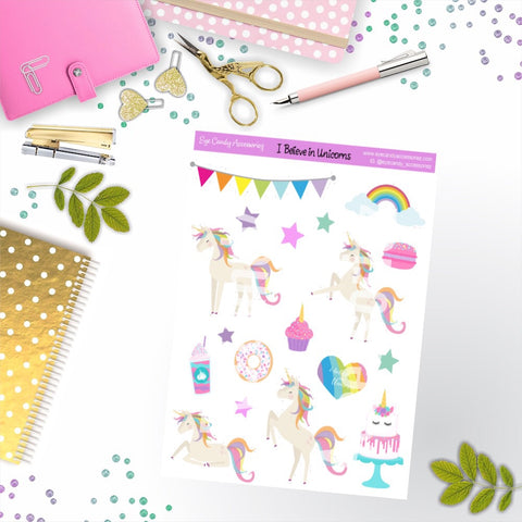 I Believe in Unicorns Sticker Sheet