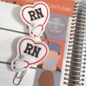 Registered Nurse (RN) Felt Planner Paper Clips