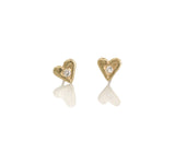 tiny heart studs with diamonds