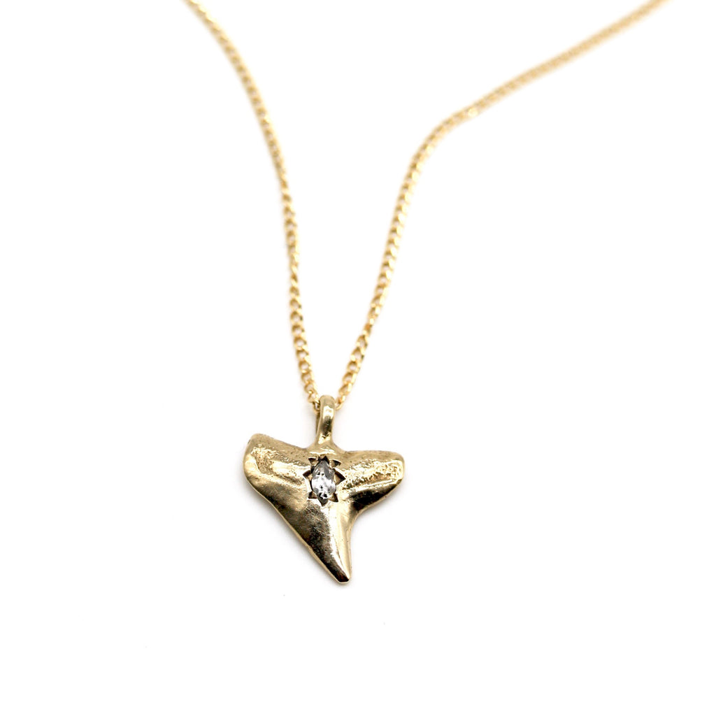 shark tooth pendant with diamond