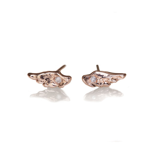 tiny wing studs with diamonds