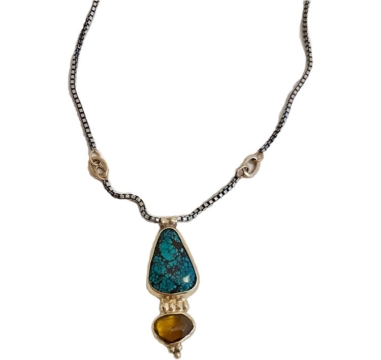 turquoise and tourmaline double-stone necklace *SOLD