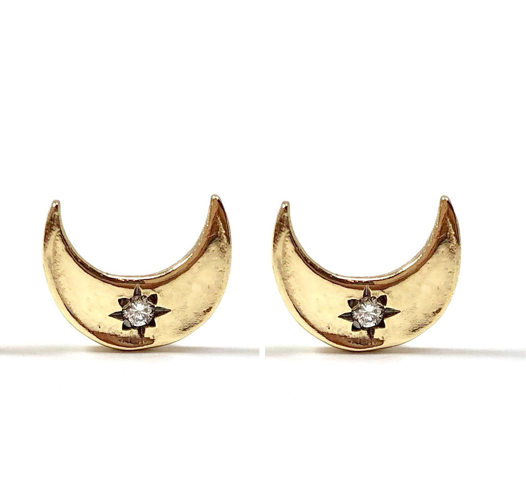 crescent moon studs with diamonds
