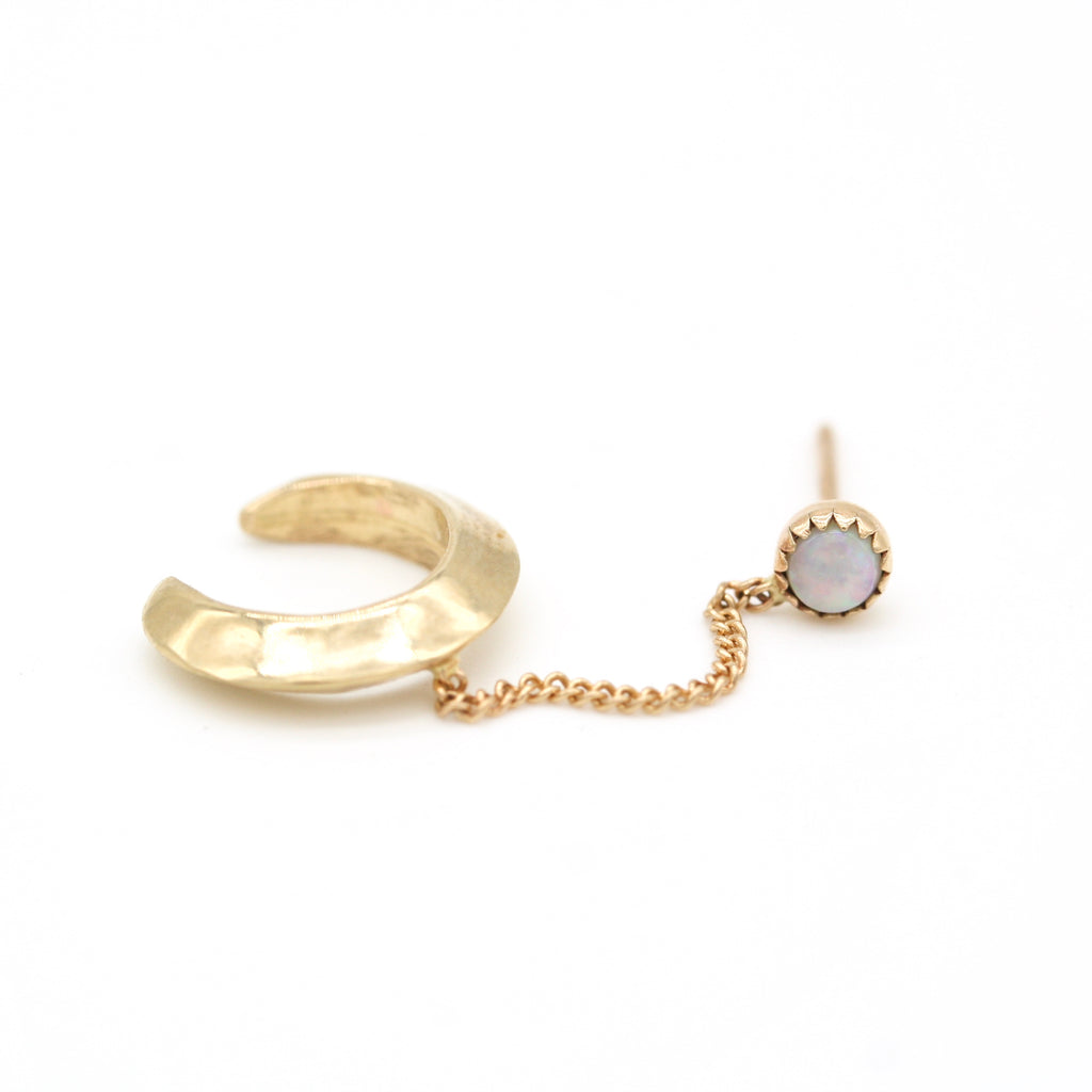 halo ear-cuff with 14k chain to stone stud
