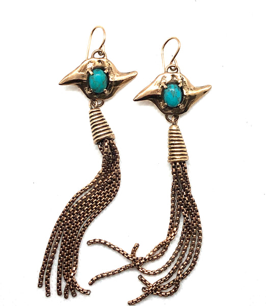 double shark tooth earrings with turquoise