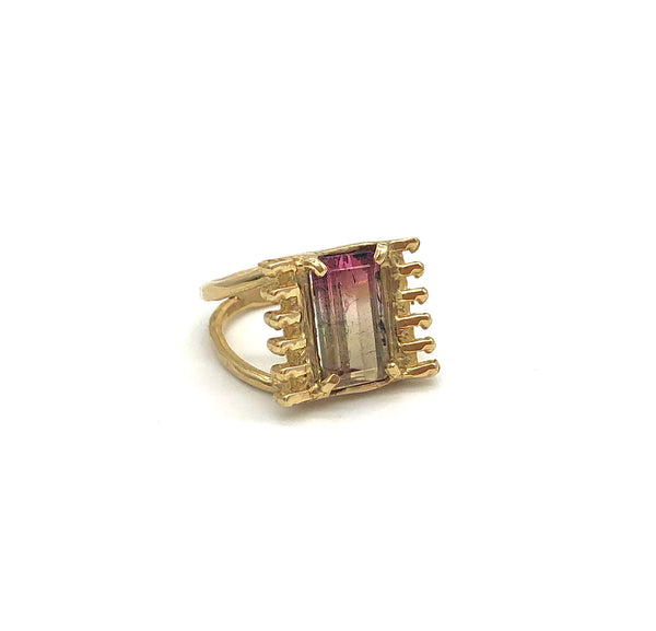 bi-color tourmaline zipper ring *SOLD