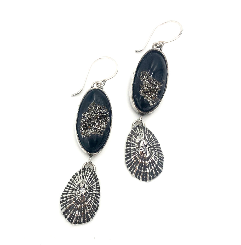 double drusy shell earrings