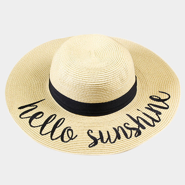 Amtal Women Elegant Wide Brim Embroidered Beach Pool Floppy Summer Vacation Sun Hat (Hello Sunshine) - Girl N Glam