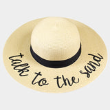 Amtal Wide Brim Embroidered Beach Pool Floppy Summer Vacation Sun Hat (Talk to the Sand) - Girl N Glam