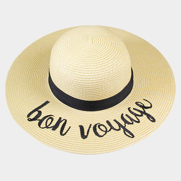 Amtal Women Elegant Wide Brim Embroidered Beach Pool Floppy Summer Vacation Sun Hat (Bon Voyage) - Girl N Glam