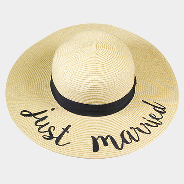 Amtal Women Elegant Wide Brim Embroidered Beach Pool Floppy Summer Vacation Sun Hat (Just Married) - Girl N Glam