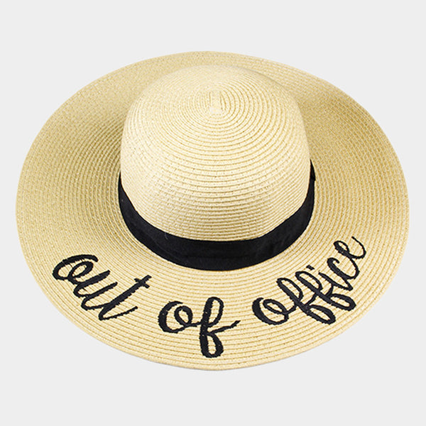 Amtal Women Elegant Wide Brim Embroidered Beach Pool Floppy Summer Vacation Sun Hat (Out Of Office) - Girl N Glam