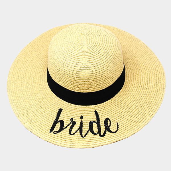 Amtal Wide Brim Embroidered Beach Pool Floppy Summer Vacation Sun Hat (Bride) - Girl N Glam