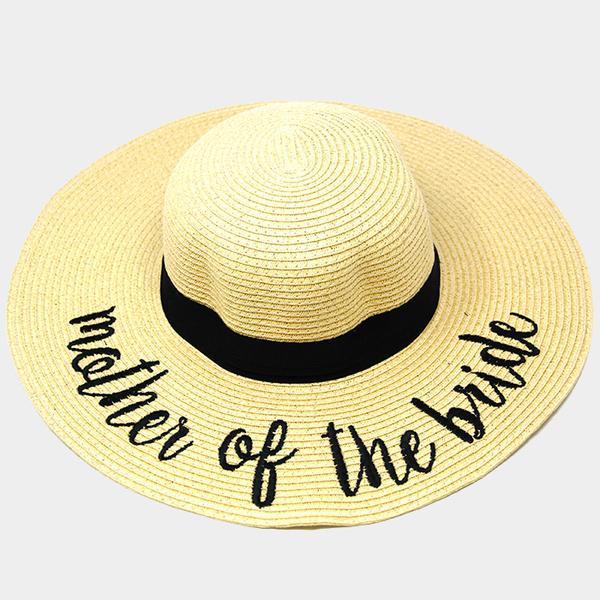 Amtal Wide Brim Embroidered Beach Pool Floppy Summer Vacation Sun Hat (Mother of Bride) - Girl N Glam
