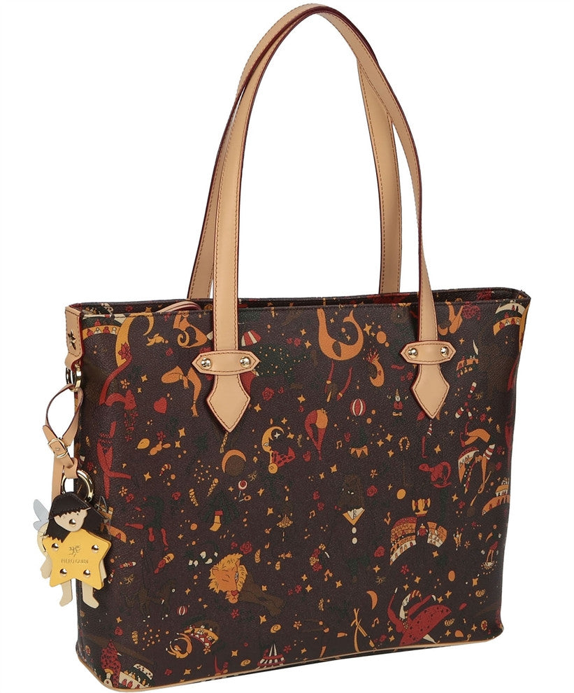 Piero Guidi Magic Circus - 17 x 11.5 in. Brown or Black Large Tote