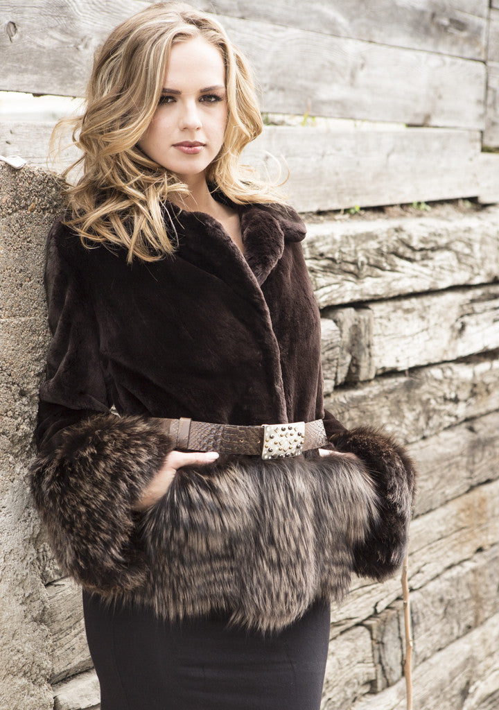 Matara Sheared Beaver with Fox Trim Fur Jacket