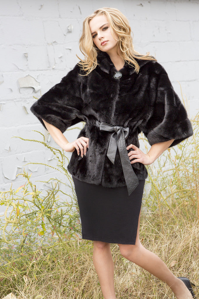 Mink Fur Jacket with 3/4 Sleeves and Hood