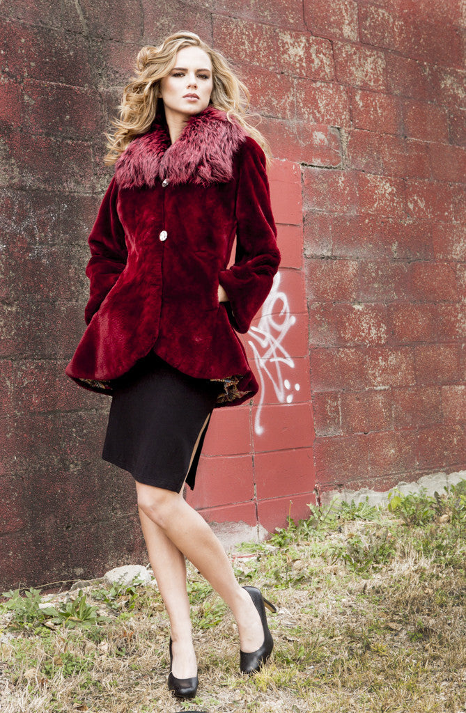 Scarlet Red Sheared Beaver Jacket with Fox Collar
