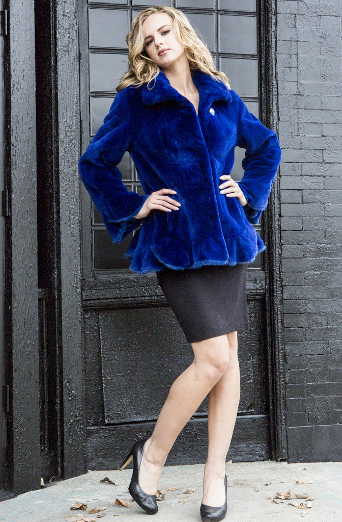 Dyed Electric Blue Sheared Beaver with Mink Fur Jacket