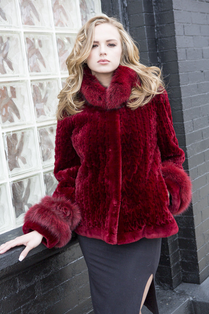Sangria Dyed Sheared Beaver Jacket with Fox Trim