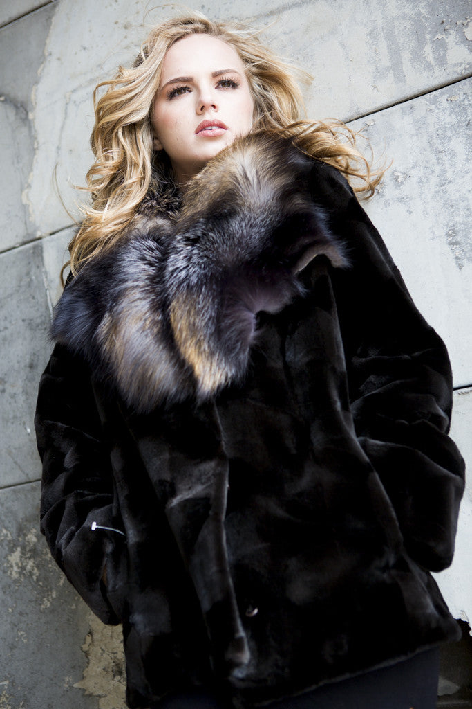 Black Sheared Mink Fur Jacket with Cross Fox Collar