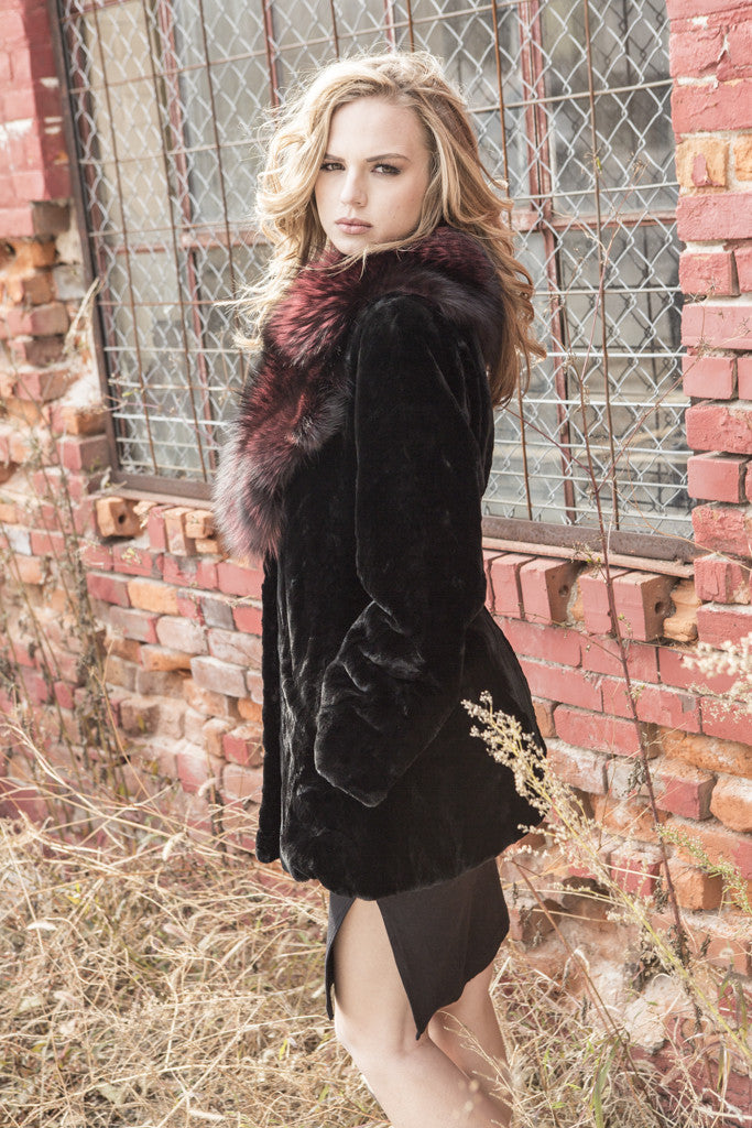 Black Sheared Mink Fur Jacket with Red Dyed Silver Fox Collar