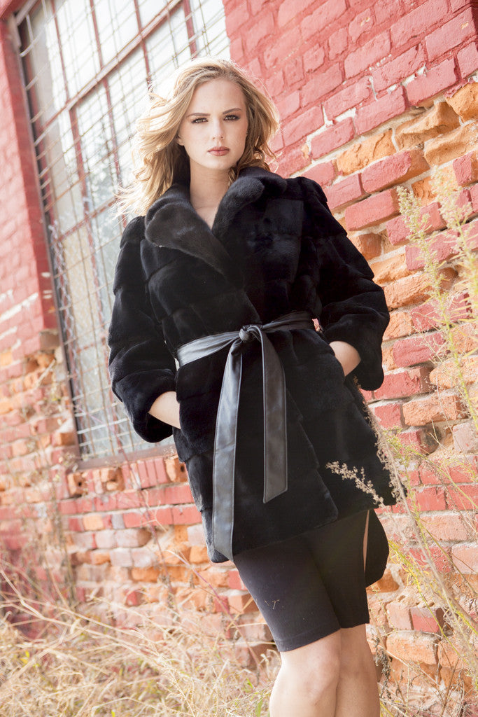 Black Rex Rabbit 3/4 Sleeve Fur Jacket