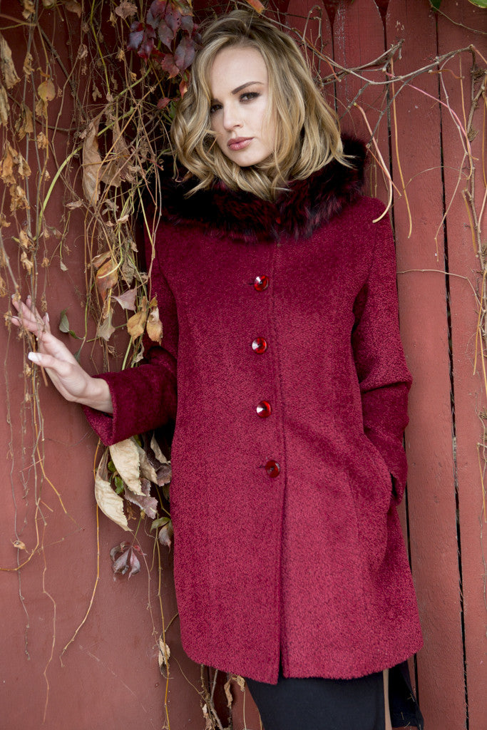 Ruby Mohair and Wool 3/4 Coat with Fox Trimmed Hood