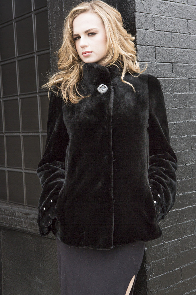 Black Sheared Mink Fur Jacket with Rhinestone Detail on Sleeves