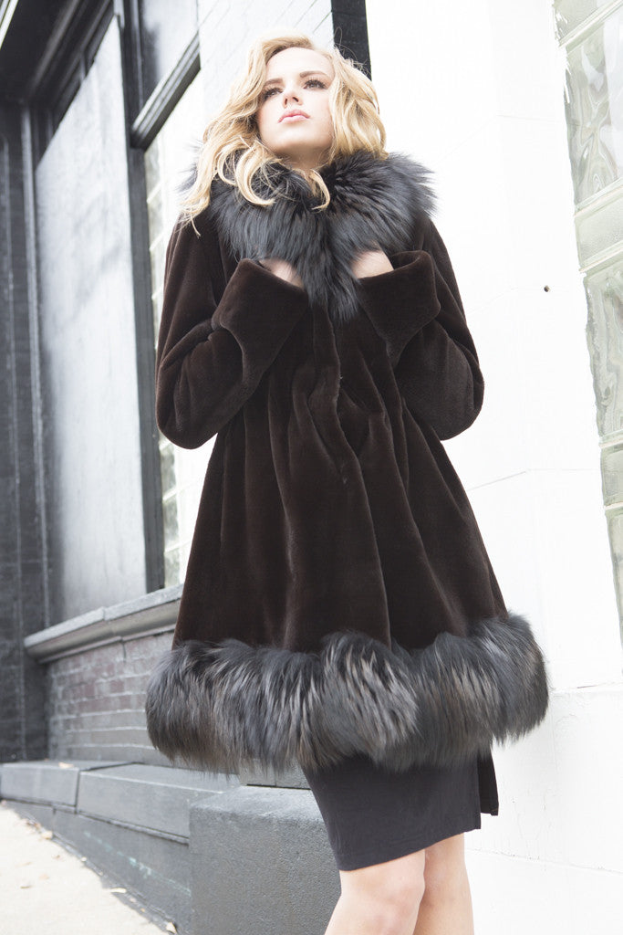 Dyed Espresso Sheared Mink Hooded 3/4 Fur Coat with Dyed Silver Fox Trim