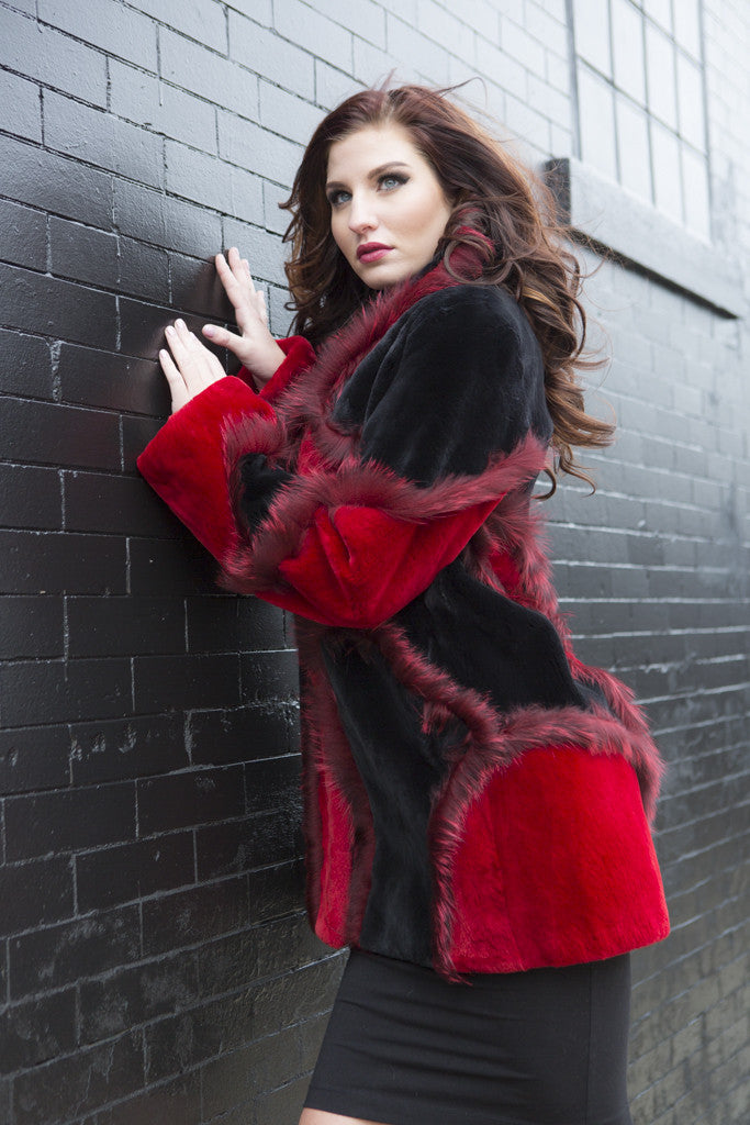 Red and Black Sheared Beaver Jacket with Fox Trim