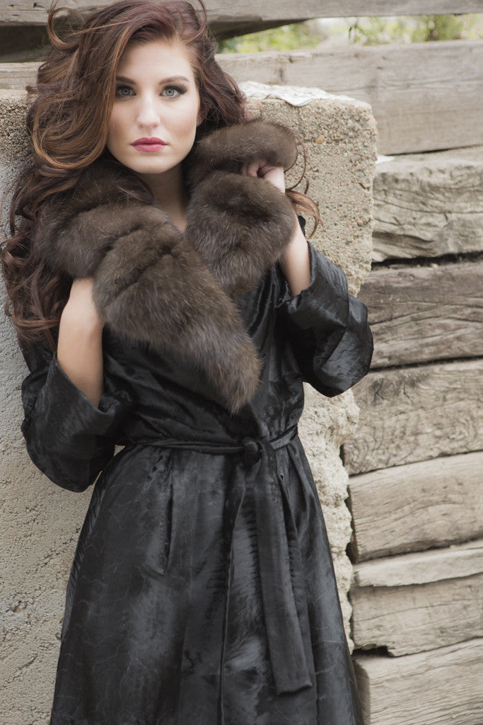 Black Swakara Belted 7/8 Fur Coat with Russian Sable Trim