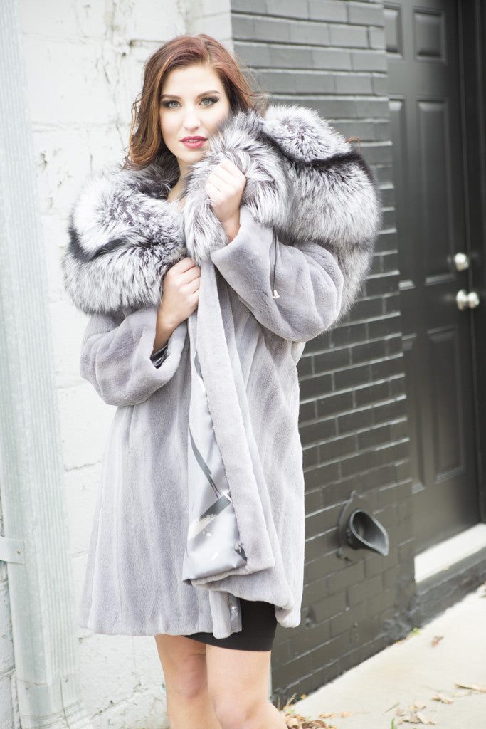 Natural Blue Iris Sheared Mink With Silver Fox Hood 3/4 Fur Coat