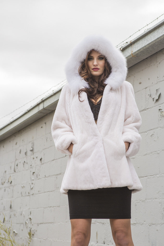 Polar White Sheared Beaver Hooded Parka