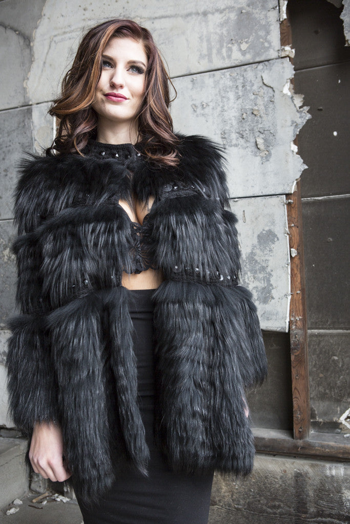 Dyed Black Silver Fox with Knit Trim Fur Jacket