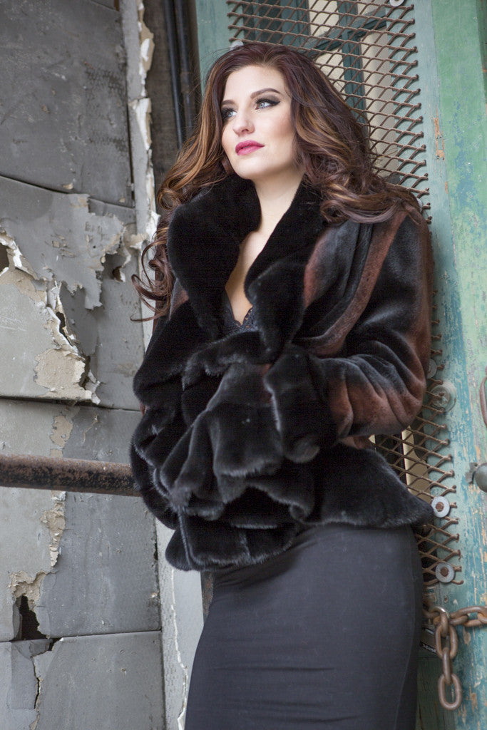 Black Sheared Mink Fur Jacket with Gold Tipping and Mink Trim