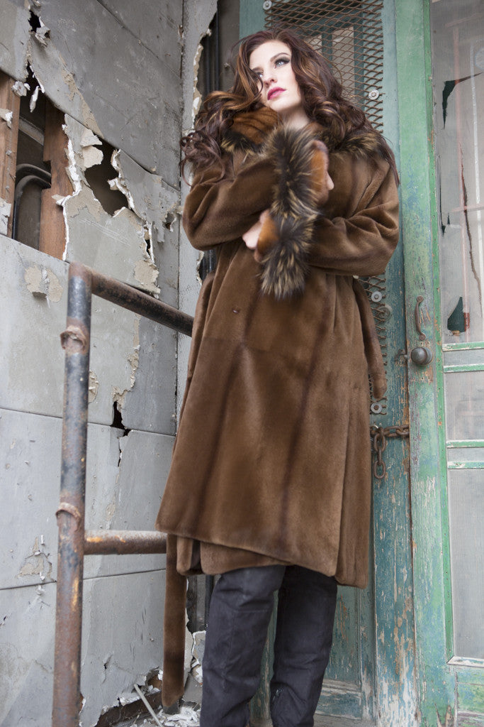 Sienna Sheared Mink 7/8 Coat with Fox Trim