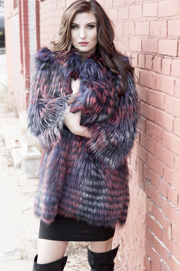 Multi Color Layered Fox Fur Jacket