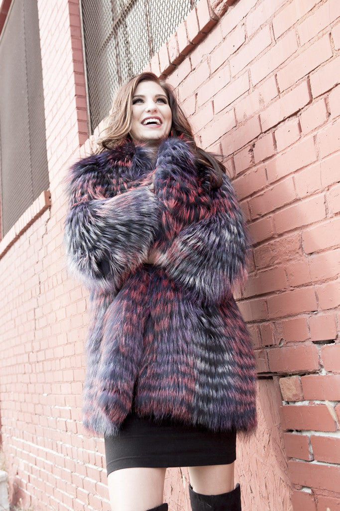 Dyed Multi Color Silver Fox Fur Jacket