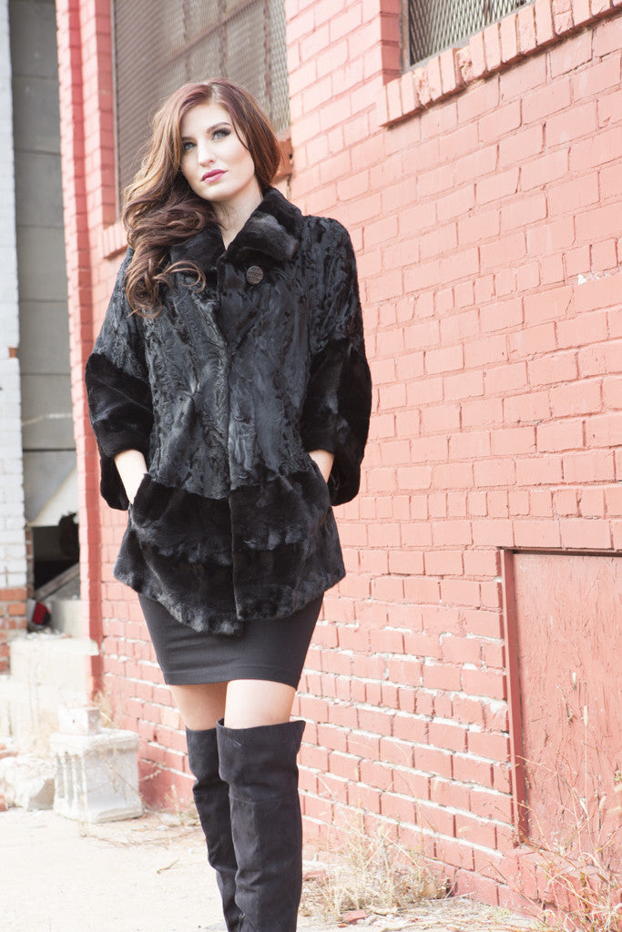 Black Persian Lamb and Sheared Mink Fur Jacket