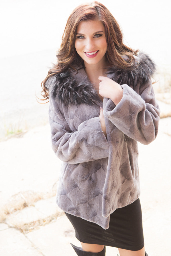 Grey Sheared Mink Sections Fur Jacket Hooded with Fox Trim