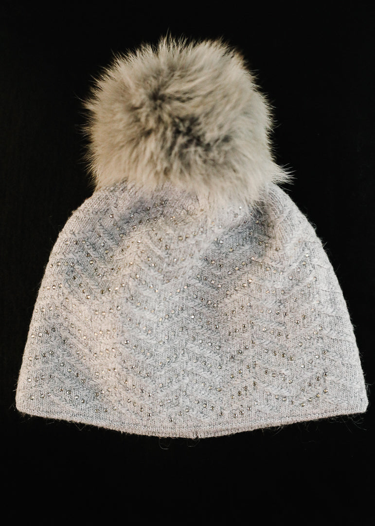 Grey Knit Jeweled Hat w/ Fox Trim Pom