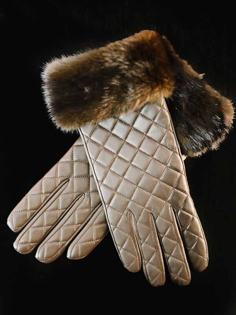 Dyed Brown Leather Gloves w/ Mink Trim - Size 8