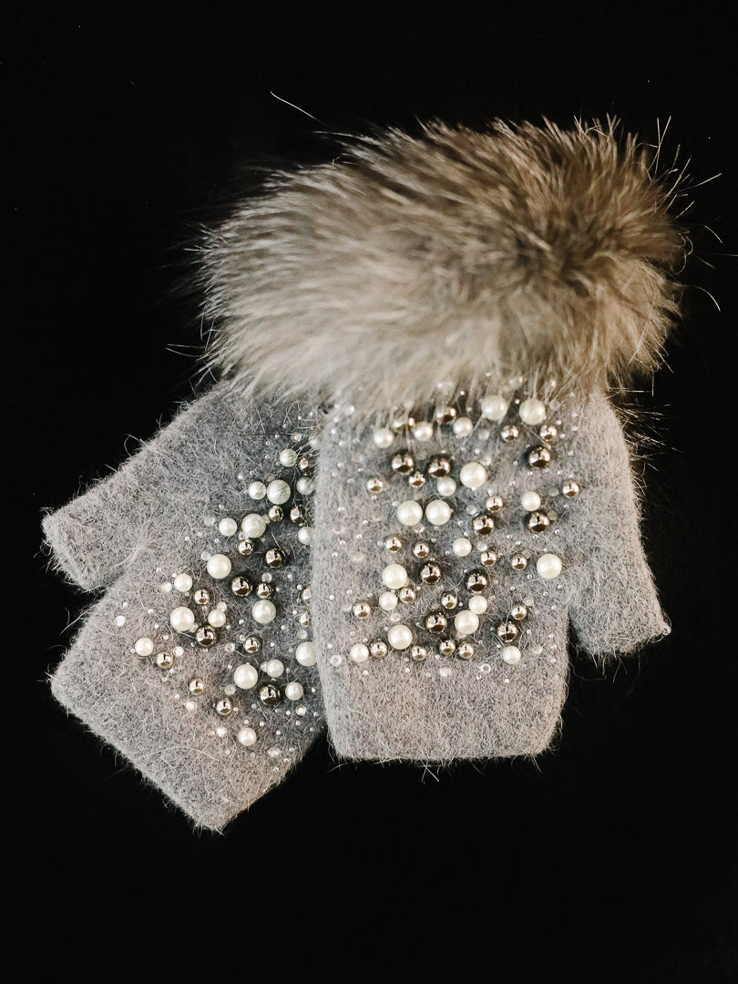 Grey Jeweled Knit Hand Warmer w/ Fox Trim